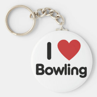 I Love Bowling Basic Round Button Keychain