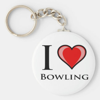 I Love Bowling Basic Round Button Keychain