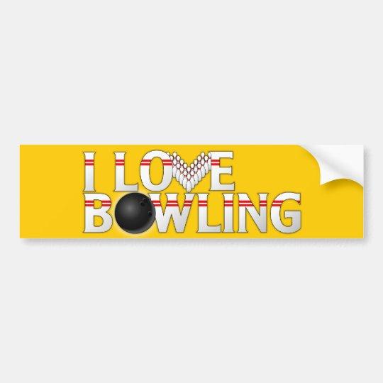I Love Bowling Bumper Sticker