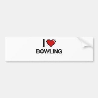 I Love Bowling Digital Retro Design Car Bumper Sticker