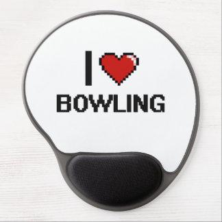 I Love Bowling Digital Retro Design Gel Mouse Pad