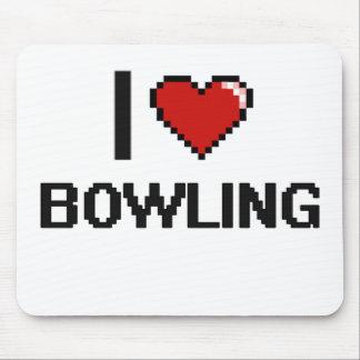I Love Bowling Digital Retro Design Mouse Pad