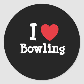 I love Bowling heart custom personalized Classic Round Sticker