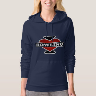 I Love Bowling Hooded Pullover