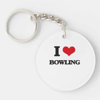I Love Bowling Acrylic Keychain