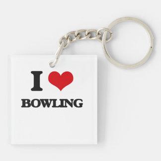 I Love Bowling Square Acrylic Key Chain