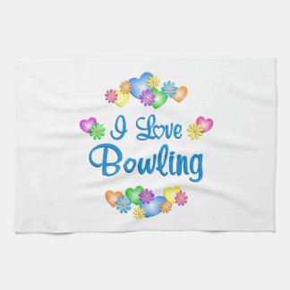 I Love Bowling Kitchen Towels