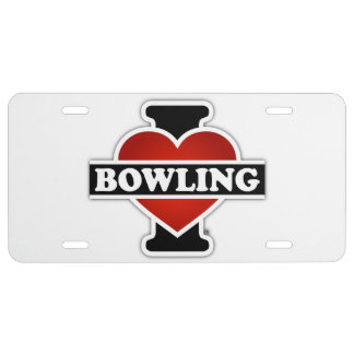 I Love Bowling License Plate