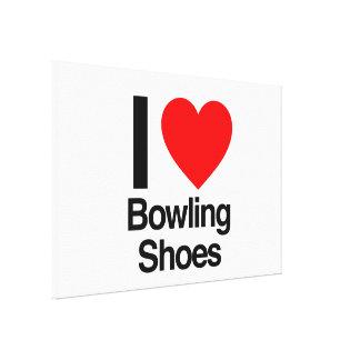 i love bowling shoes canvas print
