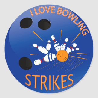 I LOVE BOWLING STRIKES CLASSIC ROUND STICKER
