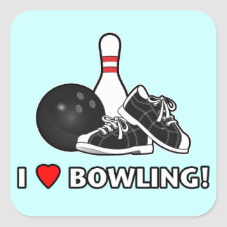 I Love Bowling with Ball, Shoes and Pin Square Sticker