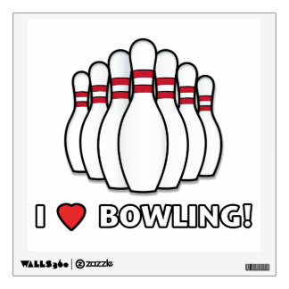 I Love Bowling with Pins Room Decal