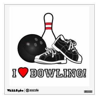I Love Bowling with Shoes and Pin Room Graphics