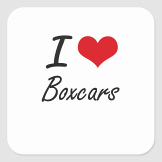 I Love Boxcars Artistic Design Square Sticker