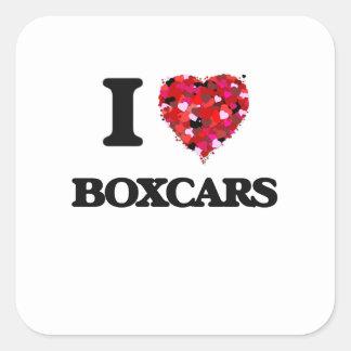 I Love Boxcars Square Sticker
