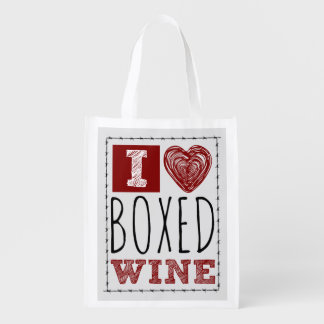 I Love Boxed Wine Barbed Wire Heart Reusable Grocery Bag