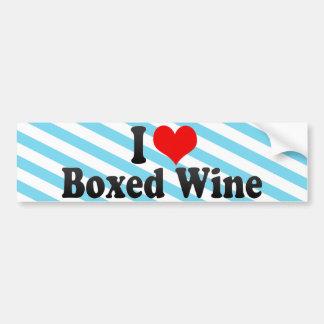 I Love Boxed Wine Car Bumper Sticker