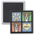 I Love Boxers 2 Inch Square Magnet