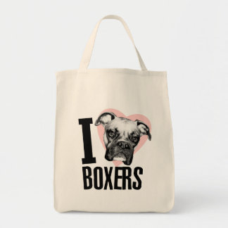 I Love Boxers Grocery Tote Canvas Bag