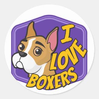 I Love Boxers - Purple & Yellow Classic Round Sticker