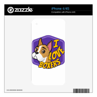I Love Boxers - Purple & Yellow iPhone 4S Decals
