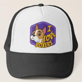 I Love Boxers - Purple & Yellow Trucker Hat