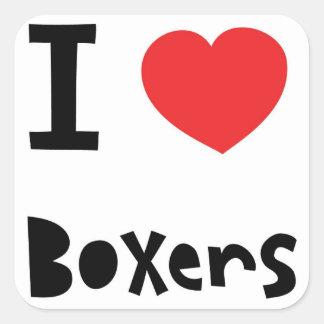 I love Boxers Square Sticker