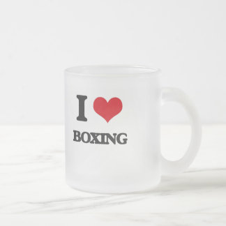 I Love Boxing 10 Oz Frosted Glass Coffee Mug