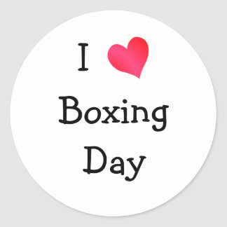 I Love Boxing Day Classic Round Sticker