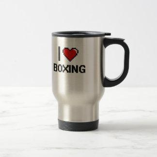 I Love Boxing Digital Retro Design 15 Oz Stainless Steel Travel Mug