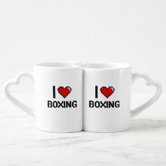 I Love Boxing Digital Retro Design Couples' Coffee Mug Set