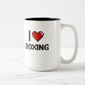 I Love Boxing Digital Retro Design Two-Tone Coffee Mug