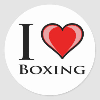 I Love Boxing Round Sticker
