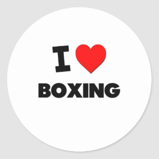 I Love Boxing Round Stickers