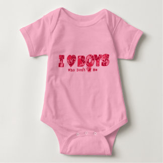 """""""I Love Boys"""" Baby Creeper in  Pink / Pink"""