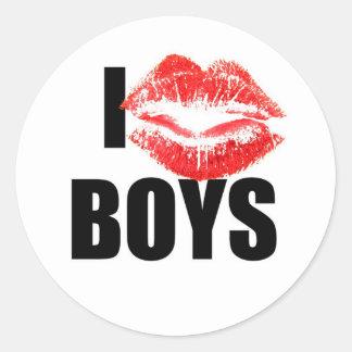 I love boys classic round sticker