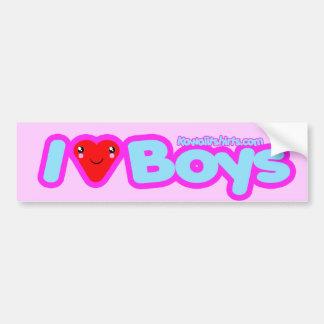 I love Boys cute Kawaii heart t-shirts & more Bumper Sticker