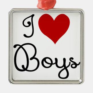 I LOVE BOYS.png Metal Ornament