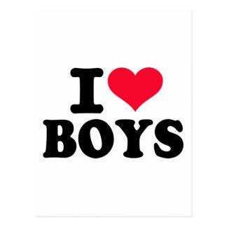 I love boys postcard