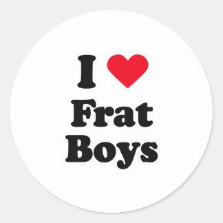 I love boys round stickers