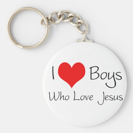I love boys who love jesus basic round button keychain