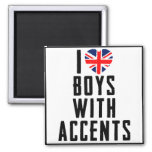 I Love Boys With Accents 2 Inch Square Magnet