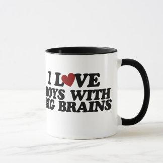 I love boys with big brains mug