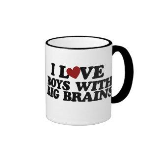 I love boys with big brains ringer mug