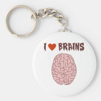 I Love Brains Basic Round Button Keychain
