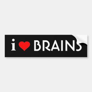 I Love Brains Car Bumper Sticker
