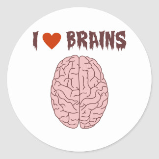 I Love Brains Classic Round Sticker