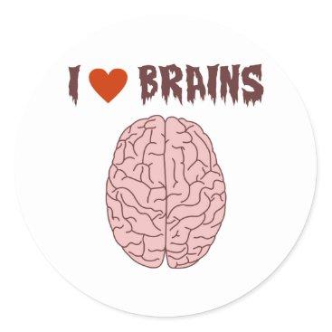 pounddesigns I Love Brains Classic Round Sticker