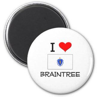 I Love Braintree Massachusetts 2 Inch Round Magnet