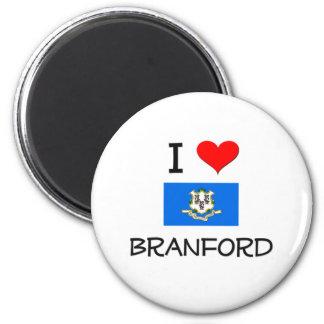 I Love Branford Connecticut 2 Inch Round Magnet